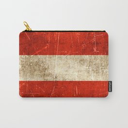 Vintage Aged and Scratched Austrian Flag Carry-All Pouch