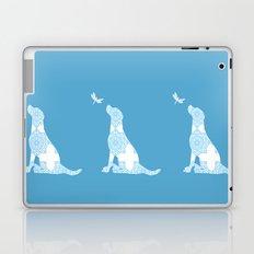 Labrador Retreiver Dog On Blue Colour Laptop & iPad Skin
