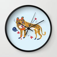 tiger Wall Clocks featuring tiger by echo3005