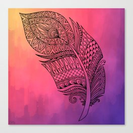 Boho Feather on Watercolors Canvas Print