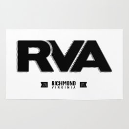 "Rva Logo - Black   "" Striped Outline "" Rug"