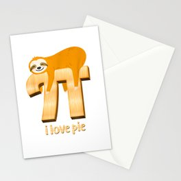 I Love Pie Cute Funny Sloth Pi Day Mathematics Lazy Animal T Shirt Stationery Cards