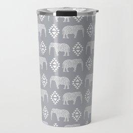 Elephant geometric southwest modern monochromatic grey children kids nature safari pattern  Travel Mug