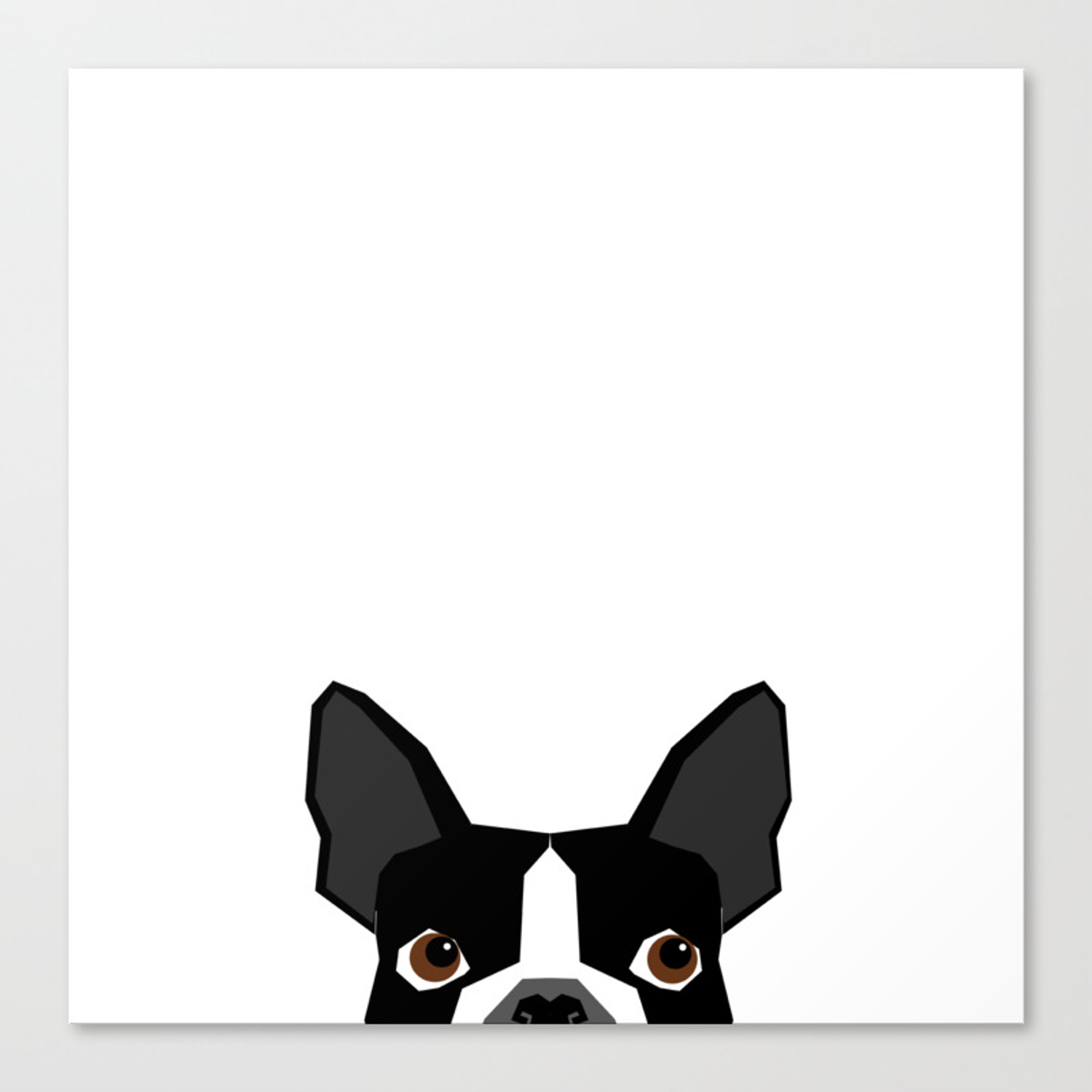 Boston Terrier Head Peeking Cute Dog Gifts Funny Must Haves Boston Terriers Canvas Print By Bostonterrier Society6
