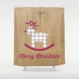 Christmas reindeer jute Shower Curtain