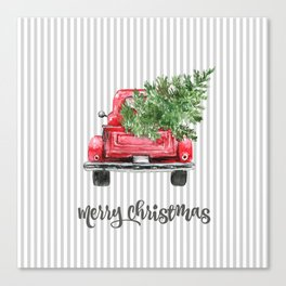 Red Truck With Christmas Tree Canvas Print