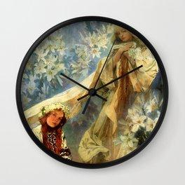 "Alphonse Mucha ""Madonna of the liles"" Wall Clock"