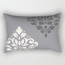 Scroll Damask Art I Cream & Grays Rectangular Pillow