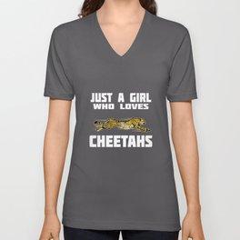 Just A Girl What Cheetah Loves Africa Savanna Unisex V-Neck