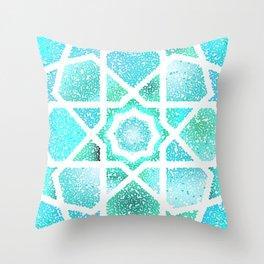 Turquoise blue shiny glitter arabesque Throw Pillow
