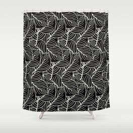 Simple Leaves Pattern- White on Black -Mix & Match with Simplicity of life Shower Curtain