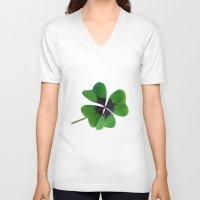 clover V-neck T-shirts featuring Clover by CNBestBuy.com
