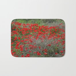 Beautiful Red Wild Anemone Flowers In A Spring Field  Bath Mat