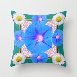 Blue Morning Glories & Shasta Daisies Teal Art Throw Pillow