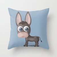 donkey Throw Pillows featuring DONKEY by Ainaragm