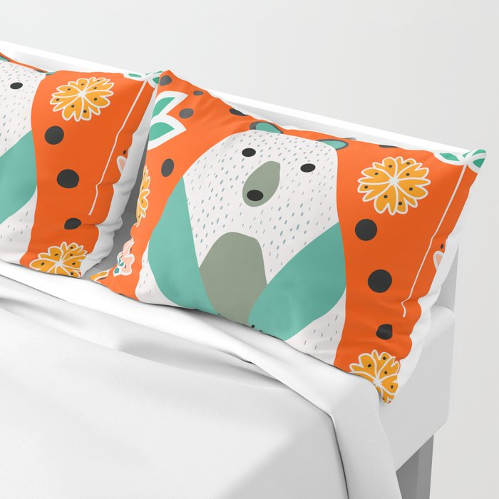 Bear in a floral spring garden Pillow Sham