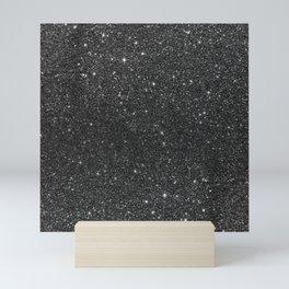 Modern chic elegant trendy faux black glitter Mini Art Print