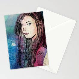 Mermaid girl with an owl tattoo Stationery Cards