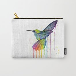Hummingbird Rainbow Watercolor Carry-All Pouch