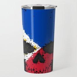 Flag of Philippines on a Chaotic Splatter Skull Travel Mug