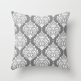 Grey Damask Throw Pillow