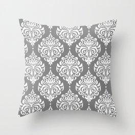Grey Damask Throw Pillow