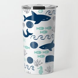 Nautical ocean animals sharks whales seahorses wave pattern sea life Travel Mug