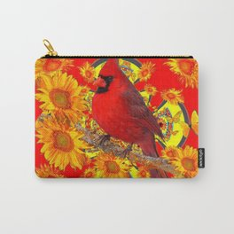 RED CARDINAL SUNFLOWERS ON CREAM ART Carry-All Pouch