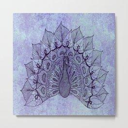 Doodle Peacock Purple Metal Print