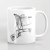 shopping Mugs featuring Shopping Cart by Brontosaurus