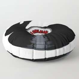 New Orleans Jazz Music Silhouette Record Floor Pillow