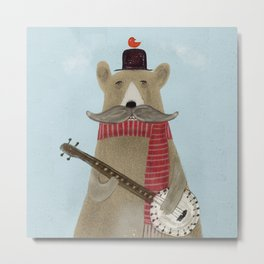 Moustache bear Metal Print