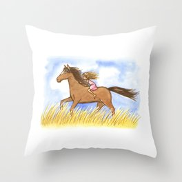 Free As The Wind Horse and Girl - Artwork that re-visits your favorite childhood memories Throw Pillow