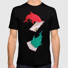 Teal Whale Shark and Shark T-shirt