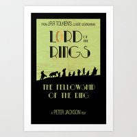 lotr Art Prints featuring LOTR The Fellowship of the Ring Minimalist Poster by Sean Breeding Arthouse