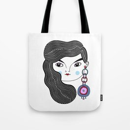 Girl With A Giant Earring Tote Bag