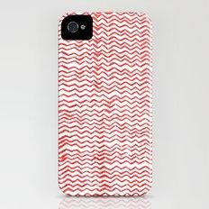 Red Wavy Chevrons Slim Case iPhone (4, 4s)