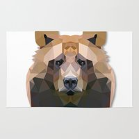 low poly Area & Throw Rugs featuring Low Poly Bear by Nick Seils