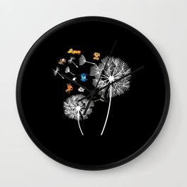 Dog Dandelion funny Dogs floral print gift puppy Wall Clock