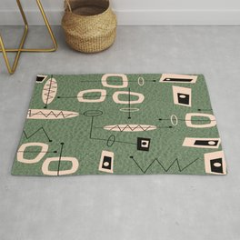 Mid-Century Atomic Green Abstract Rug