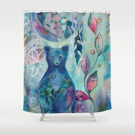 Blue Moon Bear Shower Curtain