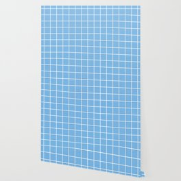 Aero - heavenly color - White Lines Grid Pattern Wallpaper