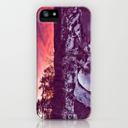 Great Falls Winter Twilight - Violet Velvet Fantasy iPhone Case