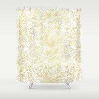 zodiac Shower Curtains featuring White Zodiac by Nina Y