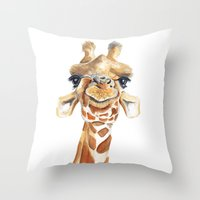 Throw Pillows featuring Giraffe  by Tussock Studio
