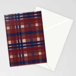 Plaid- Navy Red and Tan Stationery Cards