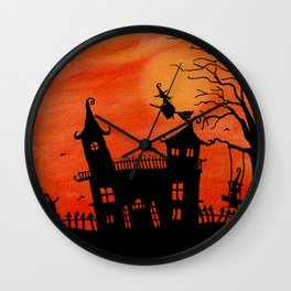 Haunted House Witch Play Wall Clock