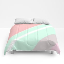 Abstract geometrical mint green coral pink stripes Comforters