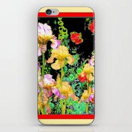 BRILLIANT  RED-BLACK YELLOW IRIS FLOWERS GARDEN iPhone Skin