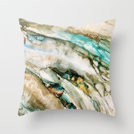 Teal Turquoise Geode Throw Pillow